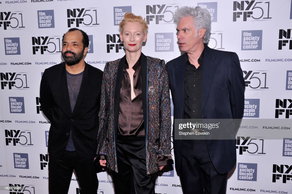 Actors <a gi-track='captionPersonalityLinkClicked' href=/galleries/search?phrase=Jeffrey+Wright&family=editorial&specificpeople=210851 ng-click='$event.stopPropagation()'>Jeffrey Wright</a>, <a gi-track='captionPersonalityLinkClicked' href=/galleries/search?phrase=Tilda+Swinton&family=editorial&specificpeople=202991 ng-click='$event.stopPropagation()'>Tilda Swinton</a> and director <a gi-track='captionPersonalityLinkClicked' href=/galleries/search?phrase=Jim+Jarmusch&family=editorial&specificpeople=208784 ng-click='$event.stopPropagation()'>Jim Jarmusch</a> attend the 'Only Lovers Left Alive' during the 51st New York Film Festival at Alice Tully Hall at Lincoln Center on October 10, 2013 in New York City.