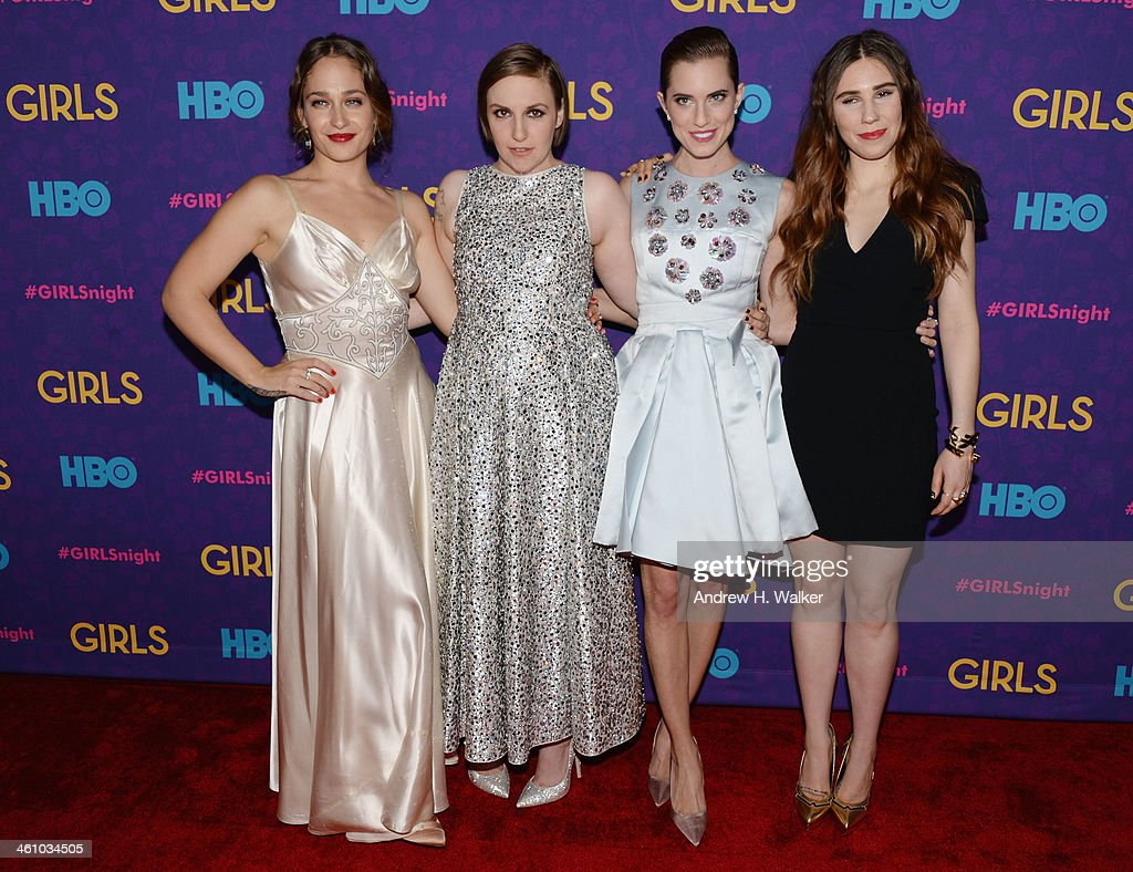 Actors Jemima Kirke Lena Dunham Allison Williams and Zosia Mamet attend the 'Girls' season three premiere at Jazz at Lincoln Center on January 6 2014...