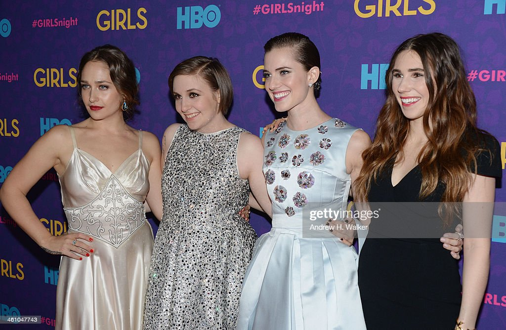 Actors <a gi-track='captionPersonalityLinkClicked' href=/galleries/search?phrase=Jemima+Kirke&family=editorial&specificpeople=7327464 ng-click='$event.stopPropagation()'>Jemima Kirke</a>, <a gi-track='captionPersonalityLinkClicked' href=/galleries/search?phrase=Lena+Dunham&family=editorial&specificpeople=5836535 ng-click='$event.stopPropagation()'>Lena Dunham</a>, <a gi-track='captionPersonalityLinkClicked' href=/galleries/search?phrase=Allison+Williams+-+Actress&family=editorial&specificpeople=594198 ng-click='$event.stopPropagation()'>Allison Williams</a> and <a gi-track='captionPersonalityLinkClicked' href=/galleries/search?phrase=Zosia+Mamet&family=editorial&specificpeople=7439328 ng-click='$event.stopPropagation()'>Zosia Mamet</a> attend the 'Girls' season three premiere at Jazz at Lincoln Center on January 6, 2014 in New York City.
