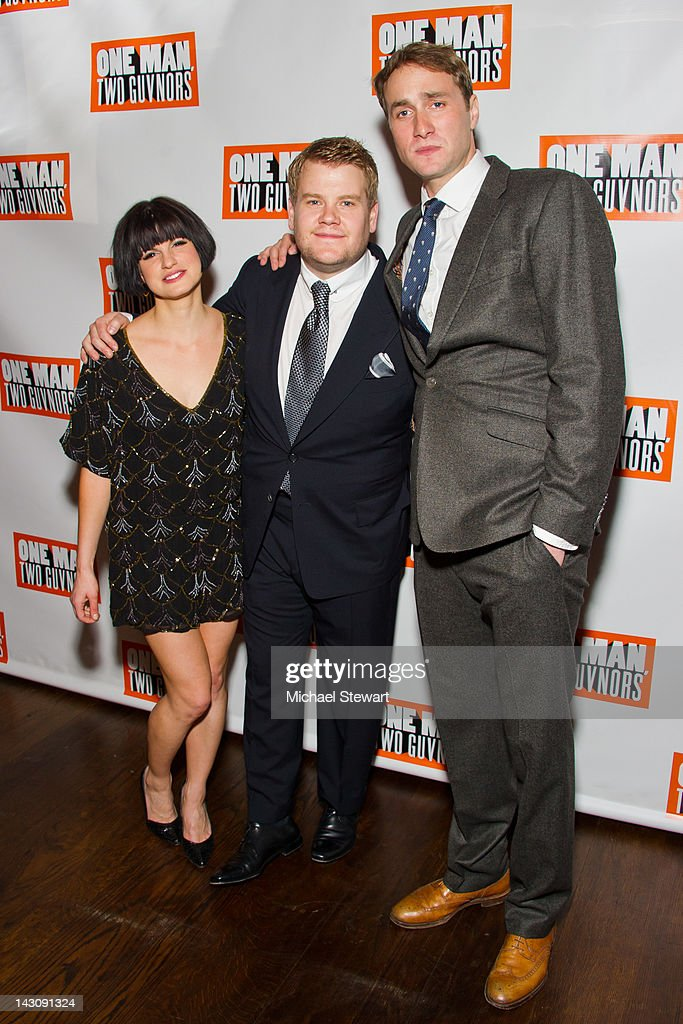 Actors <a gi-track='captionPersonalityLinkClicked' href=/galleries/search?phrase=Jemima+Rooper&family=editorial&specificpeople=817780 ng-click='$event.stopPropagation()'>Jemima Rooper</a>, <a gi-track='captionPersonalityLinkClicked' href=/galleries/search?phrase=James+Corden&family=editorial&specificpeople=673860 ng-click='$event.stopPropagation()'>James Corden</a> and <a gi-track='captionPersonalityLinkClicked' href=/galleries/search?phrase=Oliver+Chris&family=editorial&specificpeople=4346466 ng-click='$event.stopPropagation()'>Oliver Chris</a> attend the 'One Man, Two Guvnors' opening night party at The Liberty Theatre on April 18, 2012 in New York City.