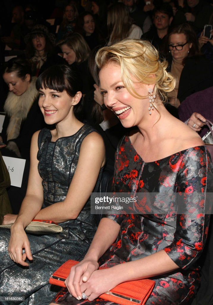 Actors <a gi-track='captionPersonalityLinkClicked' href=/galleries/search?phrase=Jena+Malone&family=editorial&specificpeople=216548 ng-click='$event.stopPropagation()'>Jena Malone</a> and <a gi-track='captionPersonalityLinkClicked' href=/galleries/search?phrase=Katherine+Heigl&family=editorial&specificpeople=206952 ng-click='$event.stopPropagation()'>Katherine Heigl</a> attend J. Mendel during Fall 2013 Mercedes-Benz Fashion Week at The Theatre at Lincoln Center on February 13, 2013 in New York City.