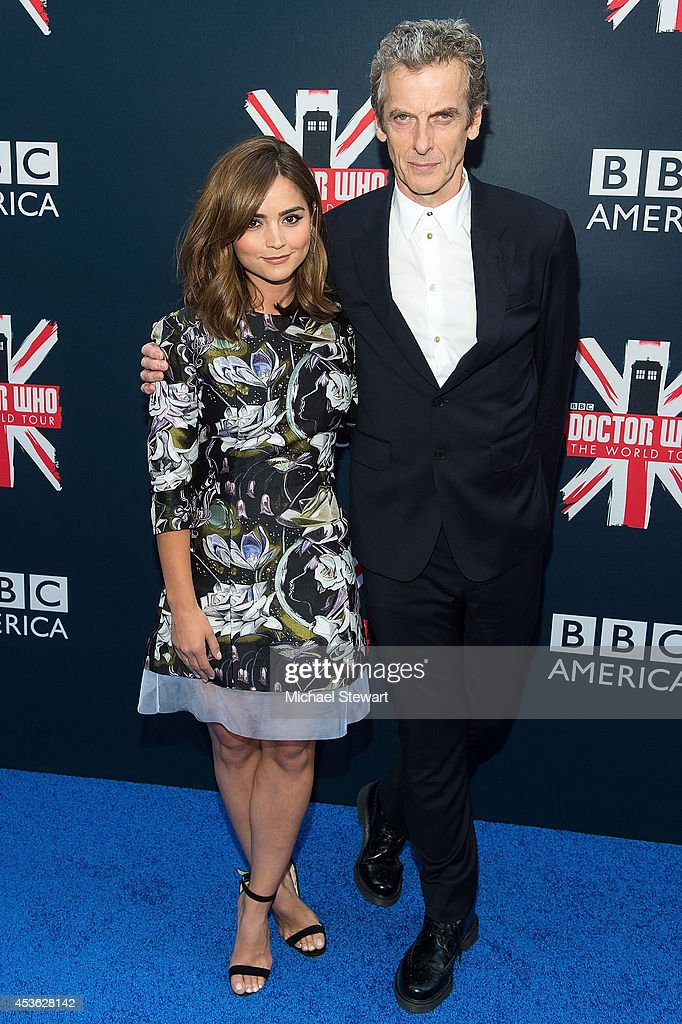 Actors Jenna Coleman (L) and Peter Capaldi attend BBC America's 'Doctor Who' Premiere Fan Screening at Ziegfeld Theater on August 14, 2014 in New York City.