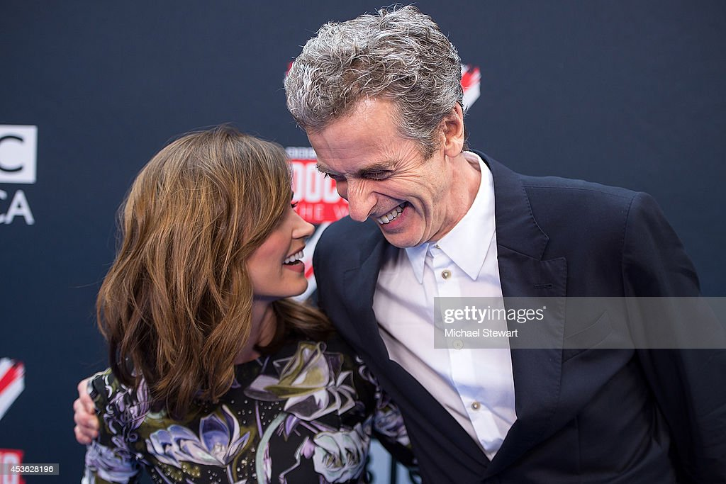 Actors Jenna Coleman (L) and <a gi-track='captionPersonalityLinkClicked' href=/galleries/search?phrase=Peter+Capaldi&family=editorial&specificpeople=639349 ng-click='$event.stopPropagation()'>Peter Capaldi</a> attend BBC America's 'Doctor Who' Premiere Fan Screening at Ziegfeld Theater on August 14, 2014 in New York City.