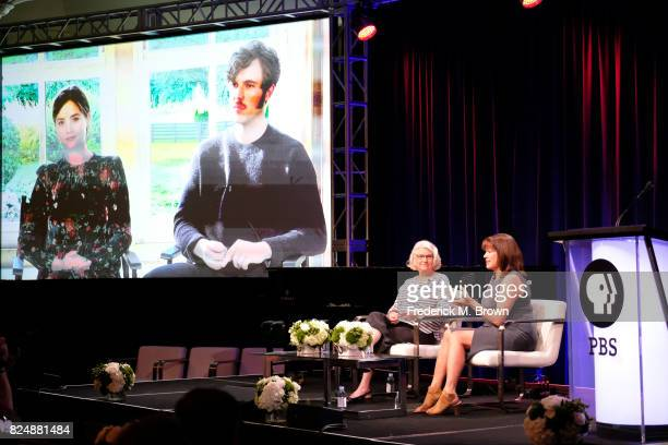 Actors Jenna Coleman and Tom Hughes executive producer Rebecca Eaton and creator/writer/executive producer Daisy Goodwin of 'Victoria' speak onstage...