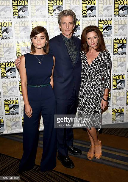 Actors Jenna Coleman Peter Capaldi and Michelle Gomez attend the BBC America 'Doctor Who' photo call during ComicCon International 2015 at the Hilton...