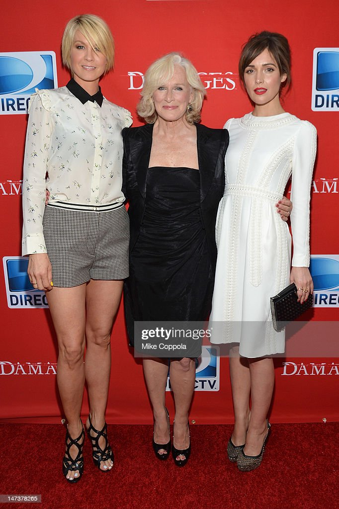 Actors <a gi-track='captionPersonalityLinkClicked' href=/galleries/search?phrase=Jenna+Elfman&family=editorial&specificpeople=204782 ng-click='$event.stopPropagation()'>Jenna Elfman</a>, <a gi-track='captionPersonalityLinkClicked' href=/galleries/search?phrase=Rose+Byrne&family=editorial&specificpeople=206670 ng-click='$event.stopPropagation()'>Rose Byrne</a> and <a gi-track='captionPersonalityLinkClicked' href=/galleries/search?phrase=Glenn+Close&family=editorial&specificpeople=201870 ng-click='$event.stopPropagation()'>Glenn Close</a> attend The DIRECTV Premiere event for the fifth and Final Season of 'Damages' at The Oak Room on June 28, 2012 in New York City.