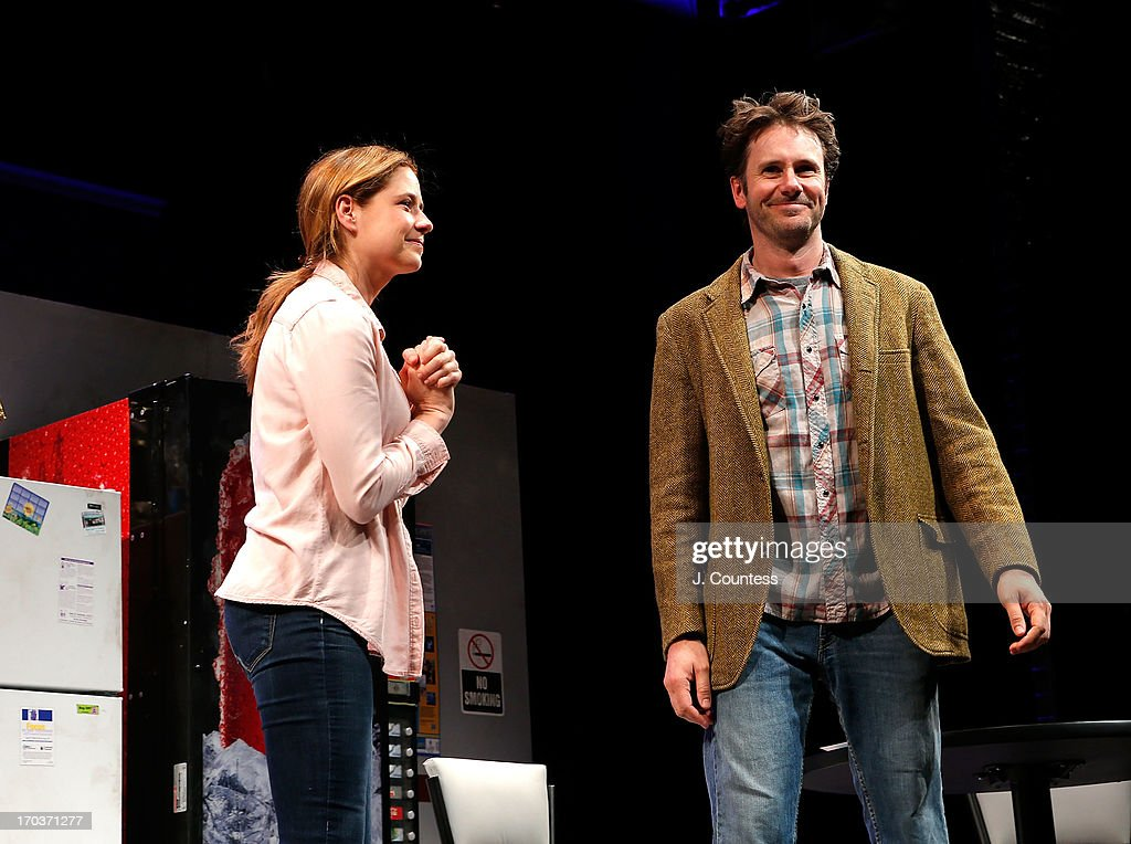 Actors Jenna Fischer and Josh Hamilton take a bow during curtain call during the 'Reasons To Be Happy' Broadway Opening Night at Lucille Lortel Theatre on June 11, 2013 in New York City.