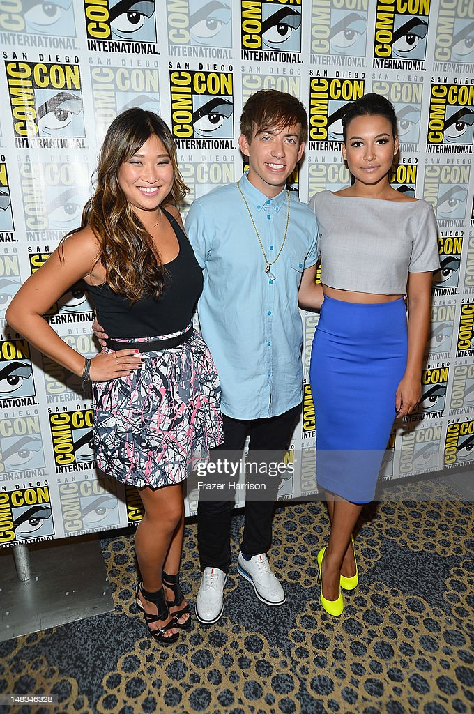 Actors <a gi-track='captionPersonalityLinkClicked' href=/galleries/search?phrase=Jenna+Ushkowitz&family=editorial&specificpeople=4863323 ng-click='$event.stopPropagation()'>Jenna Ushkowitz</a>, Kevin McHale and <a gi-track='captionPersonalityLinkClicked' href=/galleries/search?phrase=Naya+Rivera&family=editorial&specificpeople=5745696 ng-click='$event.stopPropagation()'>Naya Rivera</a> attends the 'GLEE' Press Room during Comic-Con International 2012 held at the Hilton San Diego Bayfront Hotel on July 14, 2012 in San Diego, California.