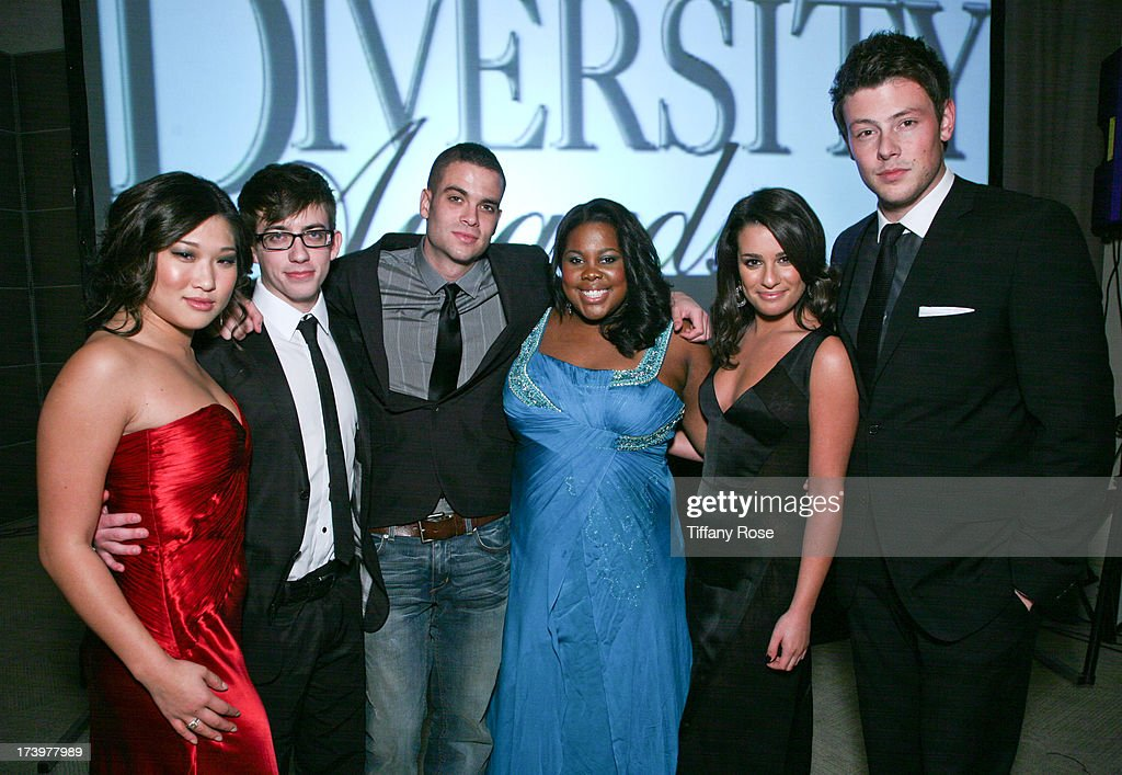 Actors <a gi-track='captionPersonalityLinkClicked' href=/galleries/search?phrase=Jenna+Ushkowitz&family=editorial&specificpeople=4863323 ng-click='$event.stopPropagation()'>Jenna Ushkowitz</a>, Kevin McHale, <a gi-track='captionPersonalityLinkClicked' href=/galleries/search?phrase=Mark+Salling&family=editorial&specificpeople=5745691 ng-click='$event.stopPropagation()'>Mark Salling</a>, <a gi-track='captionPersonalityLinkClicked' href=/galleries/search?phrase=Amber+Riley&family=editorial&specificpeople=5662111 ng-click='$event.stopPropagation()'>Amber Riley</a>, <a gi-track='captionPersonalityLinkClicked' href=/galleries/search?phrase=Lea+Michele&family=editorial&specificpeople=566514 ng-click='$event.stopPropagation()'>Lea Michele</a> and <a gi-track='captionPersonalityLinkClicked' href=/galleries/search?phrase=Cory+Monteith&family=editorial&specificpeople=4491048 ng-click='$event.stopPropagation()'>Cory Monteith</a> attend the 17th Annual Diversity Awards Gala on November 11, 2009 at Luxe Hotel in Los Angeles, California.
