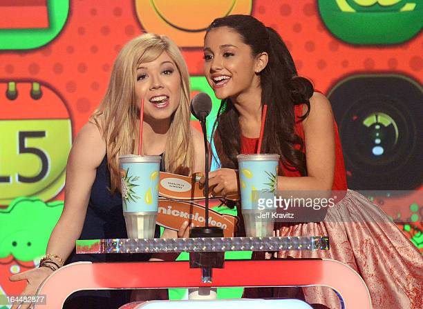 Actors Jennette McCurdy and Ariana Grande onstage at Nickelodeon's 26th Annual Kids' Choice Awards at USC Galen Center on March 23 2013 in Los...