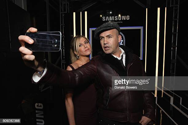 Actors Jennifer Aniston and Billy Zane show their support for the Derek Zoolander Foundation with a Samsung Galaxy S6 edge selfie at the premiere of...
