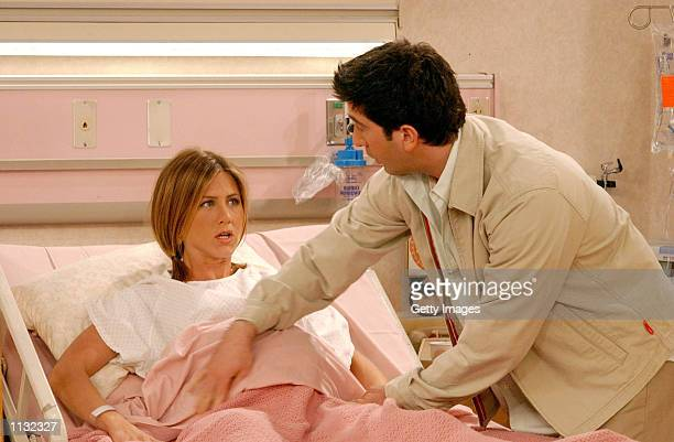 Actors Jennifer Aniston and David Schwimmer are shown in a scene from the NBC series 'Friends' The series received 11 Emmy nominations including...