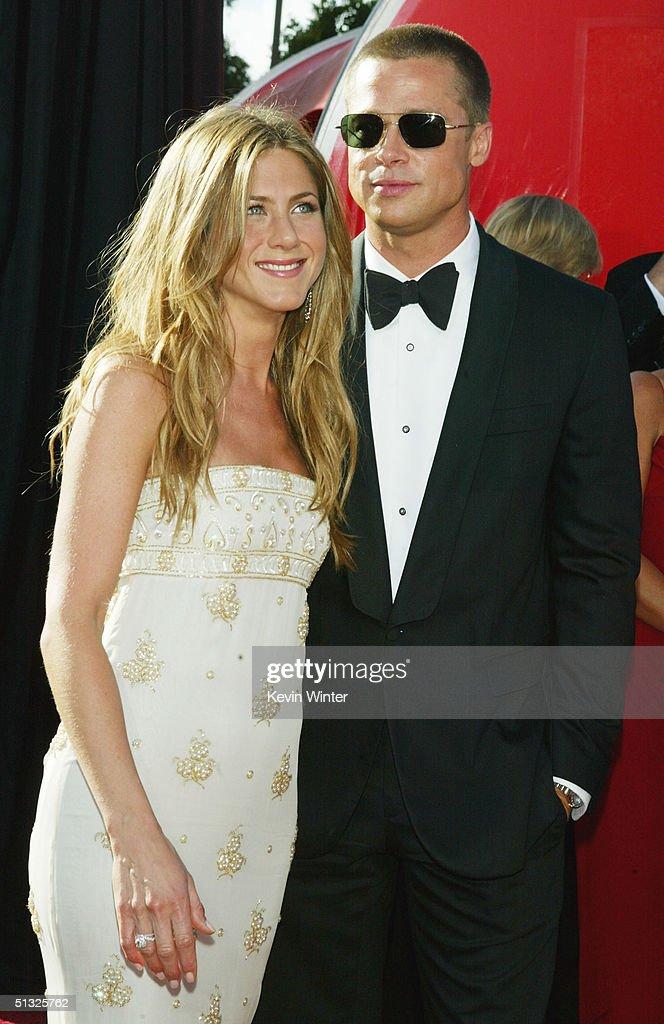 Actors <a gi-track='captionPersonalityLinkClicked' href=/galleries/search?phrase=Jennifer+Aniston&family=editorial&specificpeople=202048 ng-click='$event.stopPropagation()'>Jennifer Aniston</a> and husband <a gi-track='captionPersonalityLinkClicked' href=/galleries/search?phrase=Brad+Pitt+-+Actor&family=editorial&specificpeople=201682 ng-click='$event.stopPropagation()'>Brad Pitt</a> attend the 56th Annual Primetime Emmy Awards at the Shrine Auditorium September 19, 2004 in Los Angeles, California.