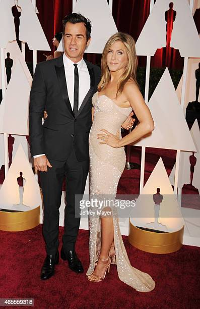 Actors Jennifer Aniston and Justin Theroux arrive at the 87th Annual Academy Awards at Hollywood Highland Center on February 22 2015 in Hollywood...