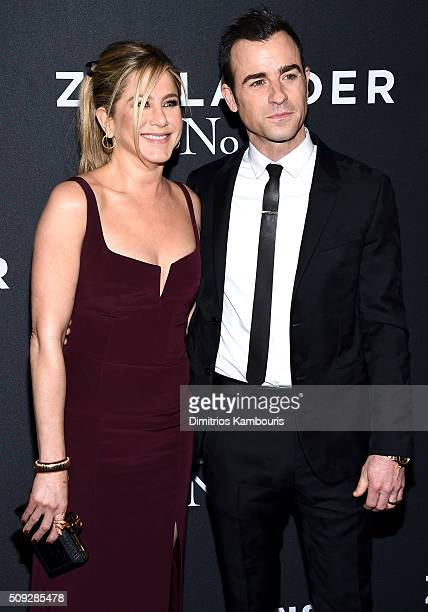 Actors Jennifer Aniston and Justin Theroux attend the 'Zoolander 2' World Premiere at Alice Tully Hall on February 9 2016 in New York City