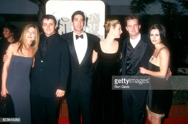 Actors Jennifer Aniston Matt LeBlanc David Schwimmer Lisa Kudrow Matthew Perry and Courtney Cox attend the 55th Annual Golden Globe Awards on January...