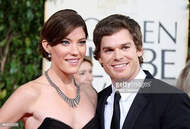 Actors Jennifer Carpenter and Michael C Hall arrive at the 66th Annual Golden Globe Awards held at the Beverly Hilton Hotel on January 11 2009 in...