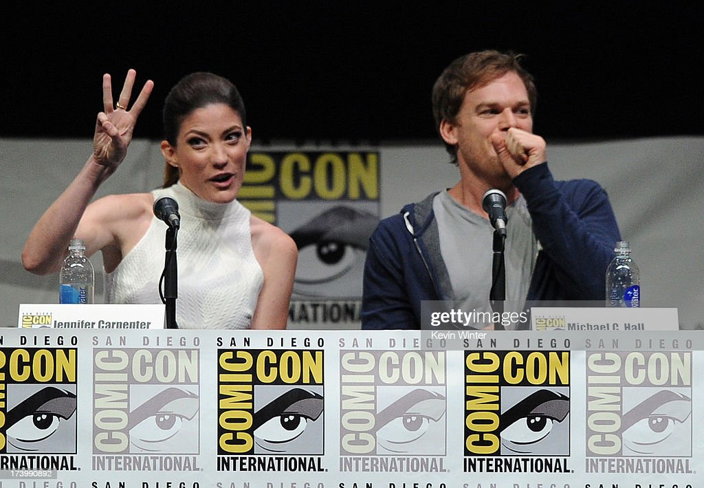Actors <a gi-track='captionPersonalityLinkClicked' href=/galleries/search?phrase=Jennifer+Carpenter&family=editorial&specificpeople=595643 ng-click='$event.stopPropagation()'>Jennifer Carpenter</a> (L) and <a gi-track='captionPersonalityLinkClicked' href=/galleries/search?phrase=Michael+C.+Hall+-+Actor&family=editorial&specificpeople=680229 ng-click='$event.stopPropagation()'>Michael C. Hall</a> speak onstage at Showtime's 'Dexter' panel during Comic-Con International 2013 at San Diego Convention Center on July 18, 2013 in San Diego, California.