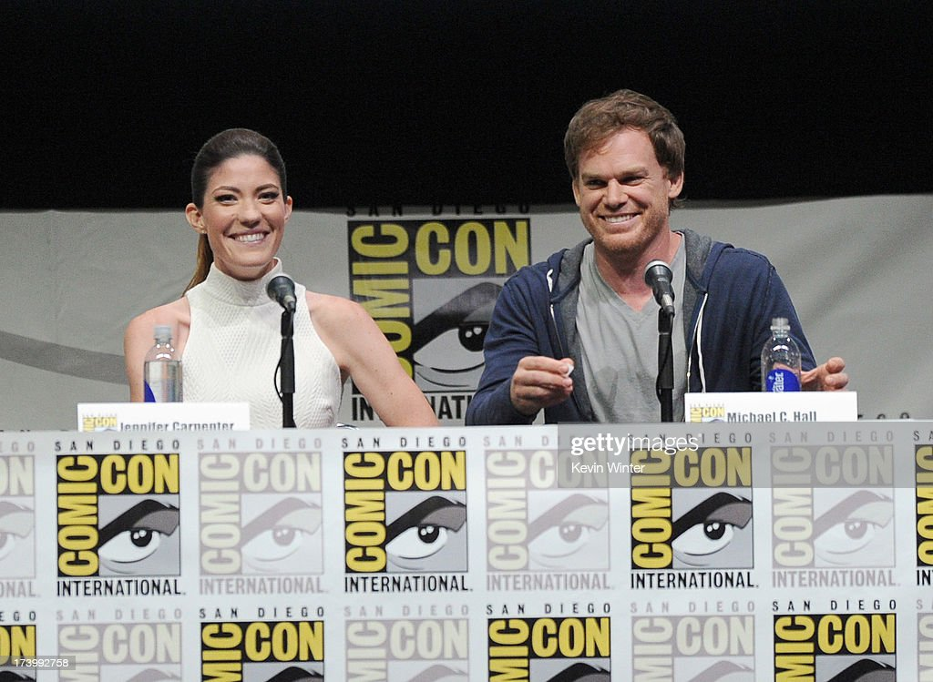 Actors Jennifer Carpenter and Michael C Hall speak onstage at Showtime's 'Dexter' panel during ComicCon International 2013 at San Diego Convention...