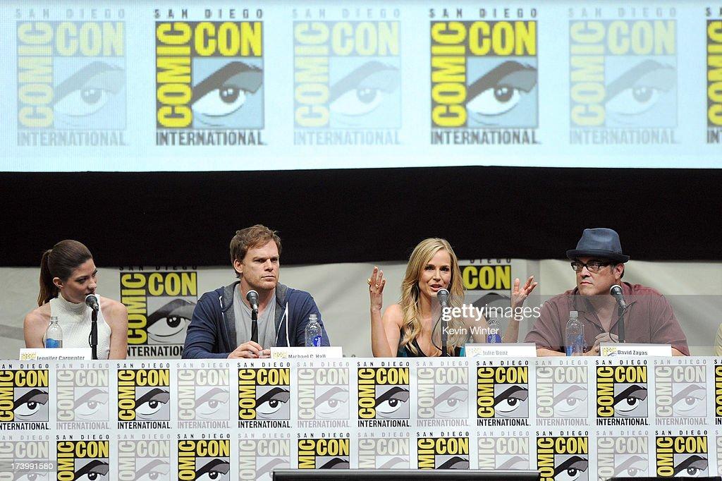 Actors Jennifer Carpenter Michael C Hall Julie Benz and David Zayas speak onstage at Showtime's 'Dexter' panel during ComicCon International 2013 at...