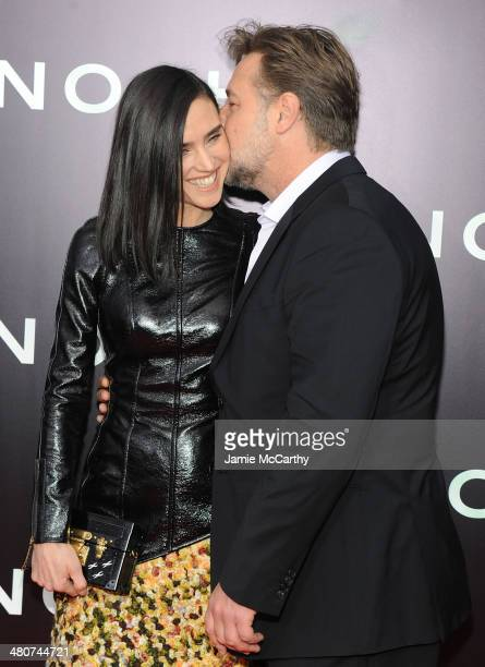 Actors Jennifer Connelly and Russell Crowe attend the 'Noah' New York premiere at Ziegfeld Theatre on March 26 2014 in New York City