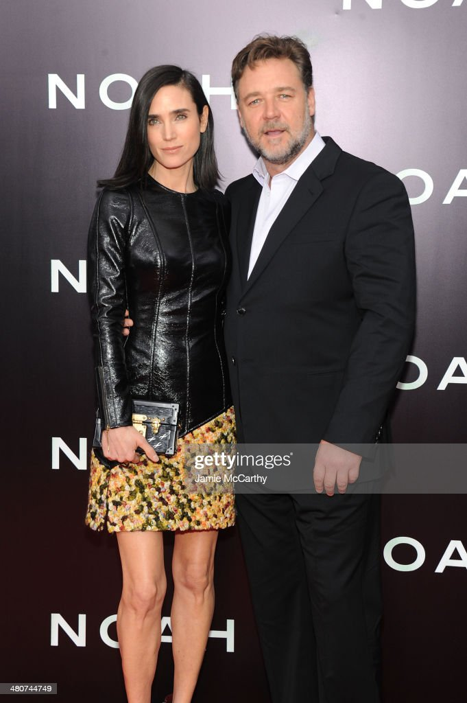 Actors Jennifer Connelly (L) and Russell Crowe attend the 'Noah' New York premiere at Ziegfeld Theatre on March 26, 2014 in New York City.