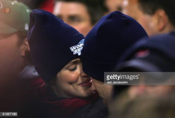 Actors Jennifer Garner and Ben Affleck during game two of the World Series between the Boston Red Sox and the St Louis Cardinals on October 24 2004...