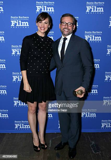 Actors Jennifer Garner and Steve Carell attend the 2015 Outstanding Performer of the Year Award at the 30th Santa Barbara International Film Festival...
