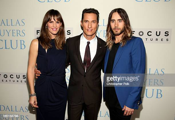 Actors Jennifer Garner Matthew McConaughey and Jared Leto attend Focus Features' 'Dallas Buyers Club' premiere at the Academy of Motion Picture Arts...