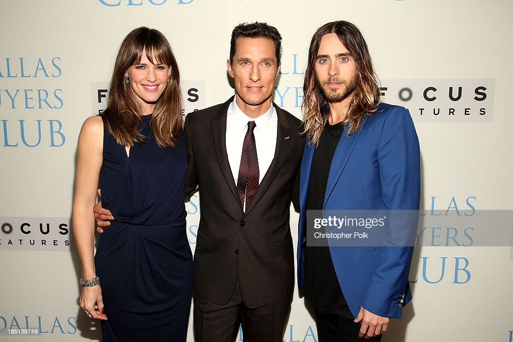 Actors Jennifer Garner, Matthew McConaughey and Jared Leto attend Focus Features' 'Dallas Buyers Club' premiere at the Academy of Motion Picture Arts and Sciences on October 17, 2013 in Beverly Hills, California.