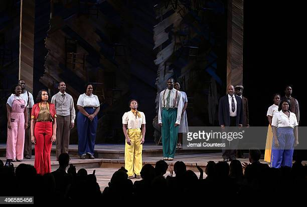Actors Jennifer Hudson Cynthia Erivo and Danielle Brooks join the cast of 'The Color Purple' onstage during curtain call following their debut...