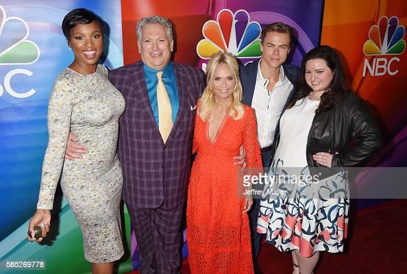 Actors Jennifer Hudson Harvey Fierstein Kristin Chenoweth Derek Hough and Maddie Baillio attend the 2016 Summer TCA Tour NBCUniversal Press Tour at...