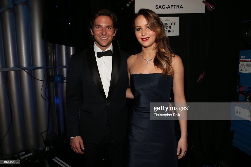 Actors Jennifer Lawrence and Bradley Cooper attend the 19th Annual Screen Actors Guild Awards at The Shrine Auditorium on January 27, 2013 in Los Angeles, California. (Photo by Christopher Polk/WireImage) 23116_012_0896.JPG