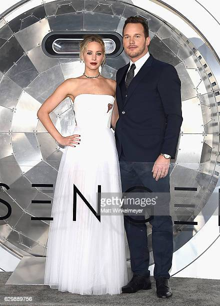 Actors Jennifer Lawrence and Chris Pratt attend the premiere of Columbia Pictures' 'Passengers' at Regency Village Theatre on December 14 2016 in...