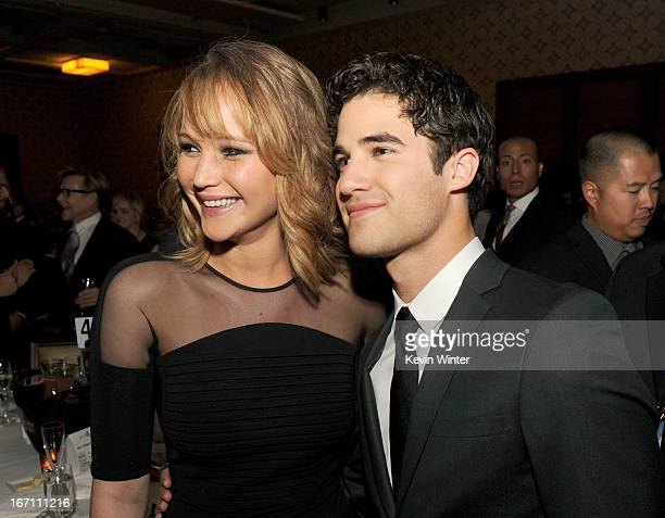 Actors Jennifer Lawrence and Darren Criss attend the 24th Annual GLAAD Media Awards at JW Marriott Los Angeles at LA LIVE on April 20 2013 in Los...