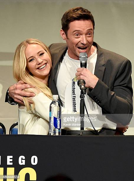 Actors Jennifer Lawrence and Hugh Jackman speak onstage at the 20th Century FOX panel during ComicCon International 2015 at the San Diego Convention...
