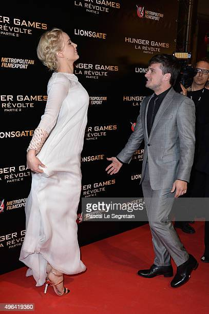 Actors Jennifer Lawrence and Josh Hutcherson attend The Hunger Games Mockingjay Part 2 Premiere at Le Grand Rex on November 9 2015 in Paris France