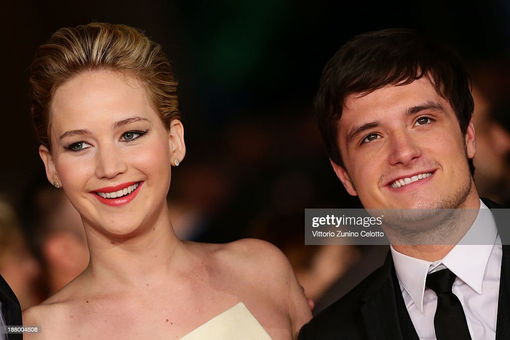 Actors <a gi-track='captionPersonalityLinkClicked' href=/galleries/search?phrase=Jennifer+Lawrence&family=editorial&specificpeople=1596040 ng-click='$event.stopPropagation()'>Jennifer Lawrence</a> and <a gi-track='captionPersonalityLinkClicked' href=/galleries/search?phrase=Josh+Hutcherson&family=editorial&specificpeople=673588 ng-click='$event.stopPropagation()'>Josh Hutcherson</a> attend the 'The Hunger Games: Catching Fire' Premiere during The 8th Rome Film Festival at Auditorium Parco Della Musica on November 14, 2013 in Rome, Italy.