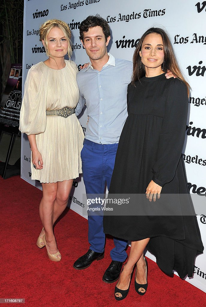 Actors <a gi-track='captionPersonalityLinkClicked' href=/galleries/search?phrase=Jennifer+Morrison&family=editorial&specificpeople=233495 ng-click='$event.stopPropagation()'>Jennifer Morrison</a>, <a gi-track='captionPersonalityLinkClicked' href=/galleries/search?phrase=Adam+Brody&family=editorial&specificpeople=213610 ng-click='$event.stopPropagation()'>Adam Brody</a> and <a gi-track='captionPersonalityLinkClicked' href=/galleries/search?phrase=Mia+Maestro&family=editorial&specificpeople=206317 ng-click='$event.stopPropagation()'>Mia Maestro</a> arrive at the premiere of 'Some Girl(s)' at Laemmle NoHo 7 on June 26, 2013 in North Hollywood, California.