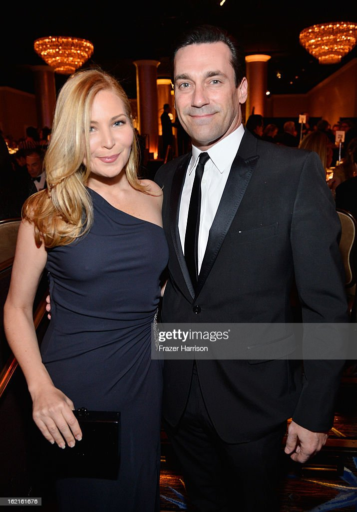 Actors <a gi-track='captionPersonalityLinkClicked' href=/galleries/search?phrase=Jennifer+Westfeldt&family=editorial&specificpeople=228494 ng-click='$event.stopPropagation()'>Jennifer Westfeldt</a> (L) and <a gi-track='captionPersonalityLinkClicked' href=/galleries/search?phrase=Jon+Hamm&family=editorial&specificpeople=3027367 ng-click='$event.stopPropagation()'>Jon Hamm</a> during the 15th Annual Costume Designers Guild Awards with presenting sponsor Lacoste at The Beverly Hilton Hotel on February 19, 2013 in Beverly Hills, California.