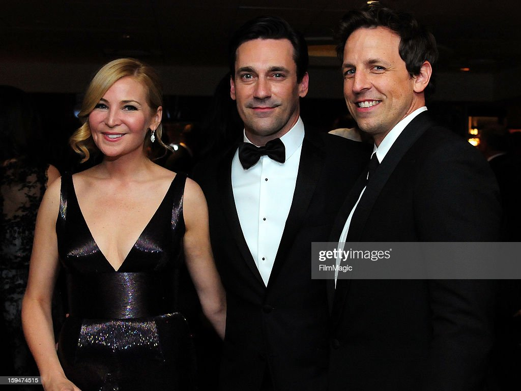 Actors <a gi-track='captionPersonalityLinkClicked' href=/galleries/search?phrase=Jennifer+Westfeldt&family=editorial&specificpeople=228494 ng-click='$event.stopPropagation()'>Jennifer Westfeldt</a>, <a gi-track='captionPersonalityLinkClicked' href=/galleries/search?phrase=Jon+Hamm&family=editorial&specificpeople=3027367 ng-click='$event.stopPropagation()'>Jon Hamm</a> and <a gi-track='captionPersonalityLinkClicked' href=/galleries/search?phrase=Seth+Meyers&family=editorial&specificpeople=618859 ng-click='$event.stopPropagation()'>Seth Meyers</a> attend HBO's Official Golden Globe Awards After Party held at Circa 55 Restaurant at The Beverly Hilton Hotel on January 13, 2013 in Beverly Hills, California.
