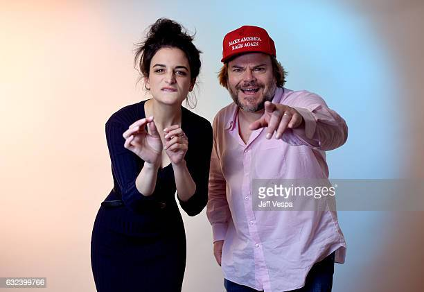 Actors Jenny Slate and Jack Black from the film 'The Polka King' poses for a portrait in the WireImage Portrait Studio presented by DIRECTV during...