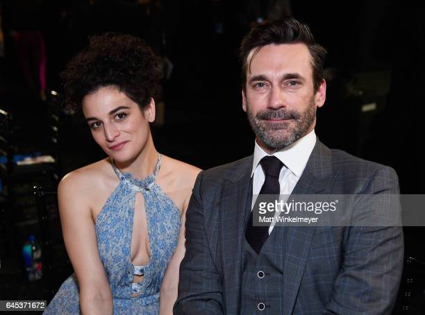 Actors Jenny Slate and Jon Hamm attends the 2017 Film Independent Spirit Awards at the Santa Monica Pier on February 25 2017 in Santa Monica...