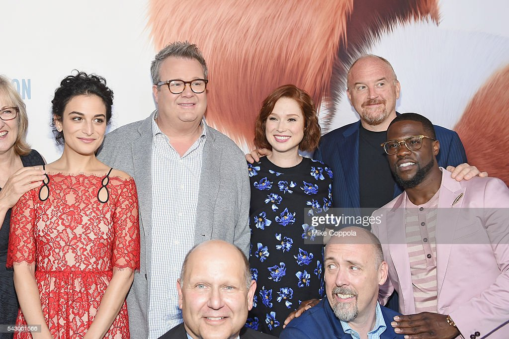Actors Jenny Slate, Eric Stonestreet , Ellie Kemper, Louis C.K., Kevin Hart (bottom L-R) Producers Chris Meledandri, and Director Chris Renaud pose for a picture at 'The Secret Life Of Pets' New York Premiere at David H. Koch Theater at Lincoln Center on June 25, 2016 in New York City.