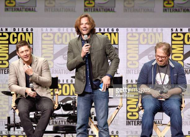 Actors Jensen Ackles and Jared Padalecki and writer Andrew Dabb at the 'Supernatural' panel during ComicCon International 2017 at San Diego...