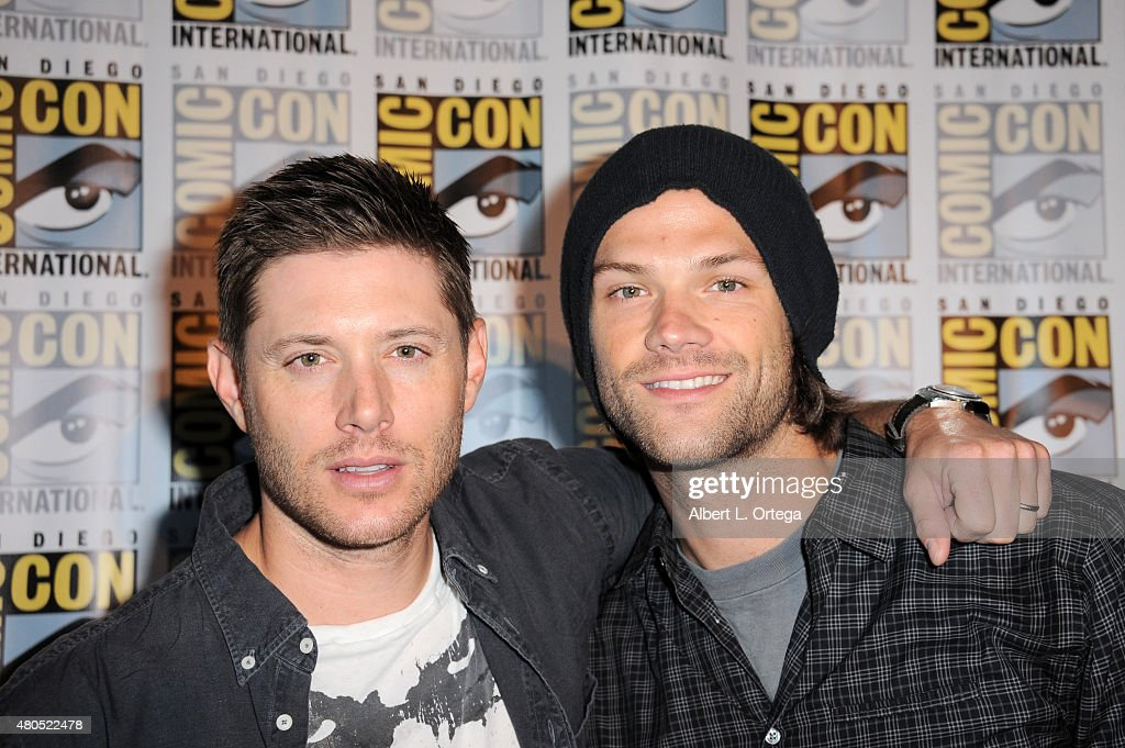 Actors Jensen Ackles (L) and Jared Padalecki attend the 'Supernatural' panel during Comic-Con International 2015 at the San Diego Convention Center on July 12, 2015 in San Diego, California.