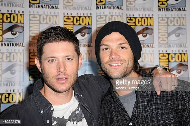 Actors Jensen Ackles and Jared Padalecki attend the 'Supernatural' panel during ComicCon International 2015 at the San Diego Convention Center on...