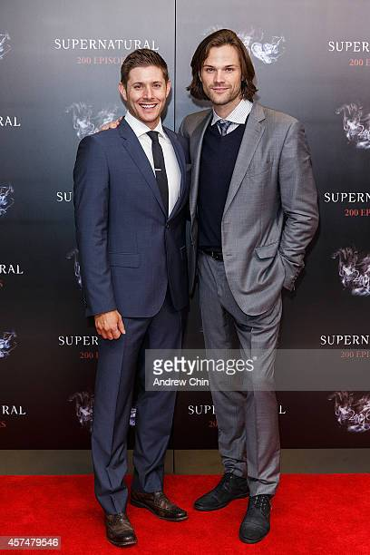 Actors Jensen Ackles and Jared Padalecki celebrate the 200th episode of 'Supernatural' at Fairmont Pacific Rim Hotel on October 18 2014 in Vancouver...