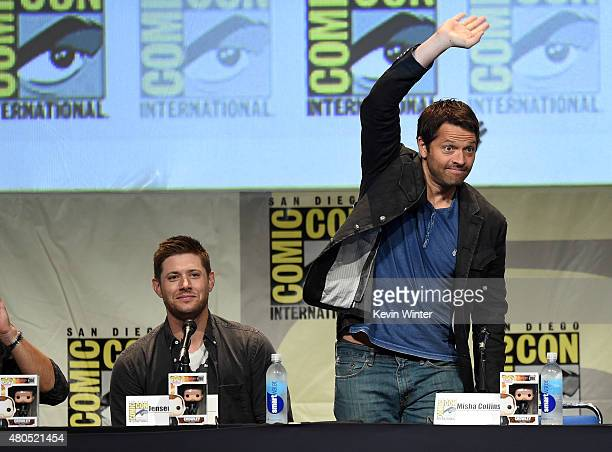Actors Jensen Ackles and Misha Collins speak onstage at the 'Supernatural' panel during ComicCon International 2015 at the San Diego Convention...