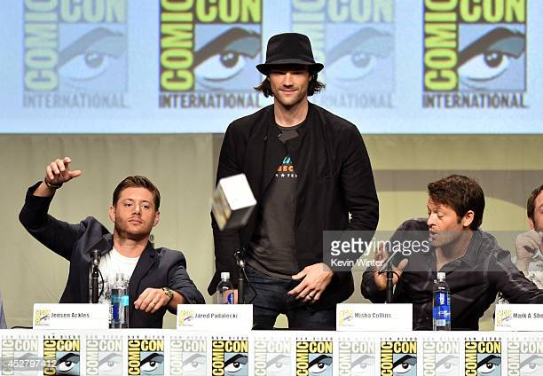 Actors Jensen Ackles Jared Padalecki and Misha Collins attend CW's 'Supernatural' Panel during ComicCon International 2014 at San Diego Convention...
